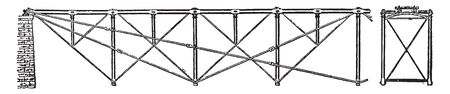 Fink Truss is a commonly used truss in residential homes and bridge architecture, vintage line drawing or engraving illustration.