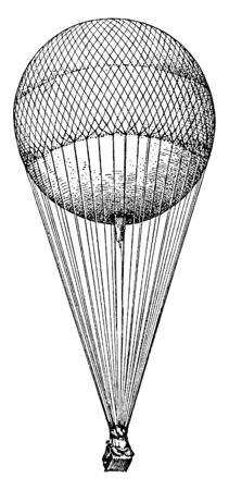 Spherical Balloon is a body whose average density is so much less than that of air that the body will rise, vintage line drawing or engraving illustration.