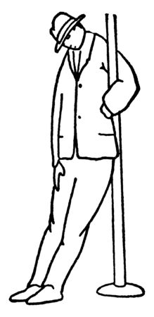 A man leaning against pole and resting, vintage line drawing or engraving illustration