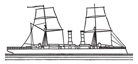 Atlanta was the lead ship of the Atlanta class of 8 light cruisers, vintage line drawing or engraving illustration. Illusztráció