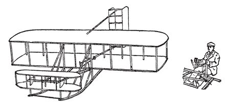 Biplane is a fixed wing aircraft with two main wings stacked one above the other, vintage line drawing or engraving illustration. 일러스트