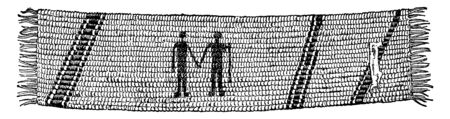 Wampum received by William Penn ,vintage line drawing or engraving illustration.