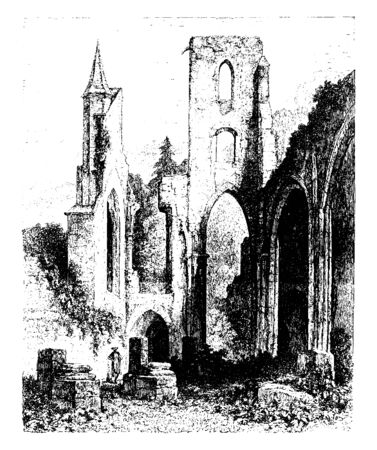Abbey of Allerheiligen is beautifully situated on the banks of the Lierbach, vintage line drawing or engraving illustration. Ilustração