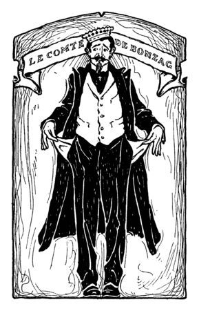 A man showing his empty pockets, vintage line drawing or engraving illustration