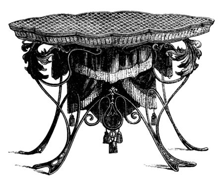 Work Table is engraved and draped with material in the center, vintage line drawing or engraving illustration.