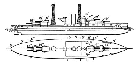 United States Navy Arizona Battleship was launched in 1915 and served stateside during World War I, vintage line drawing or engraving illustration. Ilustração
