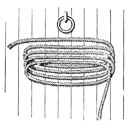 Rope Coiled in Fakes on Deck which one of the circles or windings of a cable or hawser as it lies in a coil, vintage line drawing or engraving illustration.