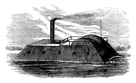 The Louisiana was a propeller driven iron hull steamer in the United States Navy during the American Civil War, vintage line drawing or engraving illustration. 写真素材 - 132903267
