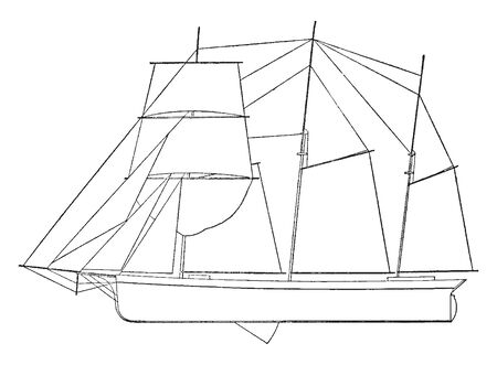 Wind Powered Sailboat used by the Dutch in the 16th and 17th centuries and later refined in North America from the early 18th century, vintage line drawing or engraving illustration. Ilustração