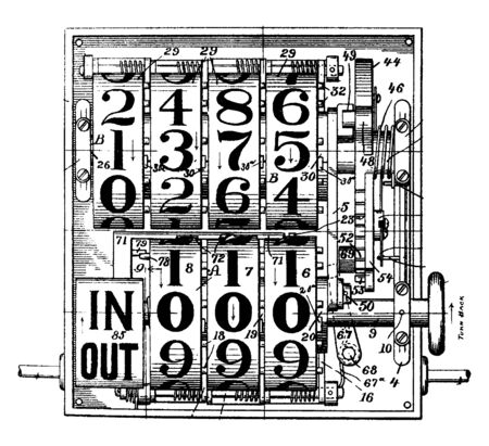 Ohmer Fare Register is a mechanical device for registering and recording the fares of passengers on streetcars, vintage line drawing or engraving illustration.
