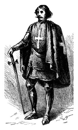 A Knight of St John which takes its origins from the Knights Hospitaller, vintage line drawing or engraving illustration.