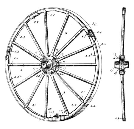 Antique Vehicle Wheel is a circular device that is capable of rotating on its axis facilitating movement or transportation whilst supporting, vintage line drawing or engraving illustration.