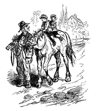 A man leading horse with two children sitting on horseback, vintage line drawing or engraving illustration