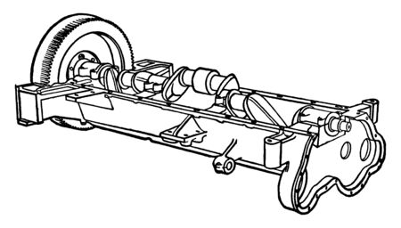 Building an Automobile Step 02 is Crank Shaft and Fly Wheel on the end helps it to keep turning at an even speed, vintage line drawing or engraving illustration.