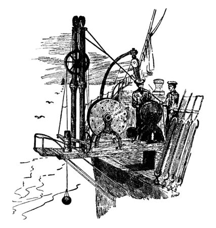 Sounding Machine is an instrument for measuring the depth of water consisting essentially of a reel of wire, vintage line drawing or engraving illustration. Illusztráció