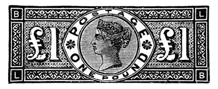 This image represents Great Britain and Ireland One Pound Stamp from 1883 to 1884, vintage line drawing or engraving illustration. Ilustrace
