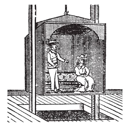 Elevator is a mechanical contrivance for lifting grain goods or persons to an upper floor, vintage line drawing or engraving illustration. Illusztráció