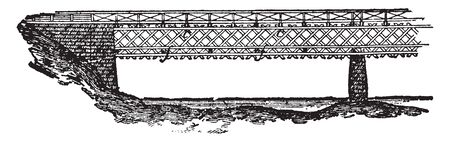 Lattice bridge is a form of truss bridge that uses a large number of small and closely spaced diagonal elements that form a lattice, vintage line drawing or engraving illustration. Illusztráció
