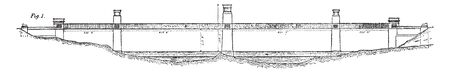 Britannia Bridge is a bridge across the Menai Strait between the island of Anglesey and the mainland of Wales, vintage line drawing or engraving illustration.