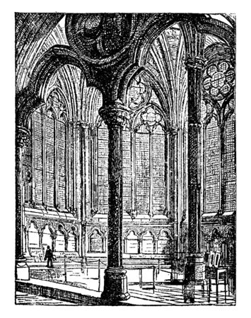 Chapter House of Westminster Abbey was originally used in the 13th century by Benedictine monks for their daily meetings, vintage line drawing or engraving illustration. 向量圖像