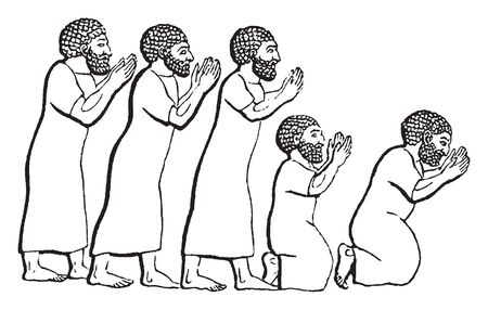 Five men standing in line and bowing, vintage line drawing or engraving illustration