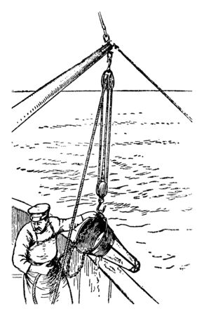 Conical Dredge is an excavation activity usually carried out underwater in shallow seas or freshwater, vintage line drawing or engraving illustration. Ilustração