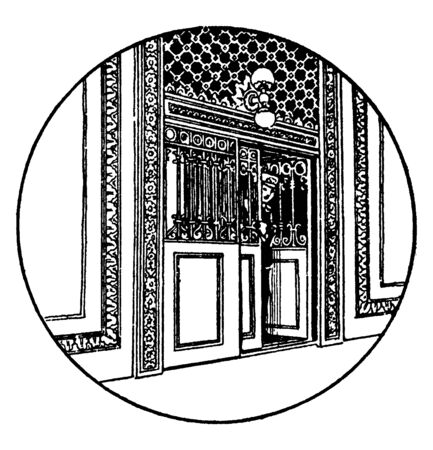 Elevator Entrance is an industry leader in the manufacture of elevator cabs, vintage line drawing or engraving illustration.