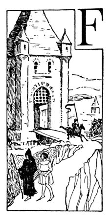Middle Ages which a castle and different classes of people in Medieval Europe, vintage line drawing or engraving illustration.