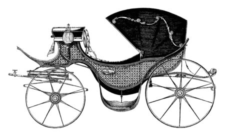 Provincial Carriage is painted to resemble cane work and the body is suspended on elliptical springs, vintage line drawing or engraving illustration.