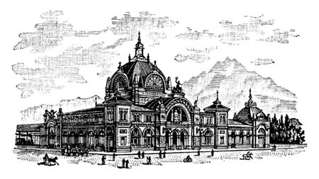 Lucerne Railway Station is a major hub of the rail network of Switzerland in the city of Lucerne in the canton of Lucerne, vintage line drawing or engraving illustration. 矢量图像