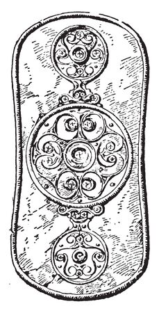 Celtic Shields were used in battle by the Celts and other ancient tribes as their main weapon for defense, vintage line drawing or engraving illustration.