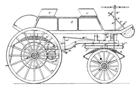 Electric Carriage Type Vehicle compared to later internal combustion vehicles caused a worldwide decline in their use, vintage line drawing or engraving illustration.