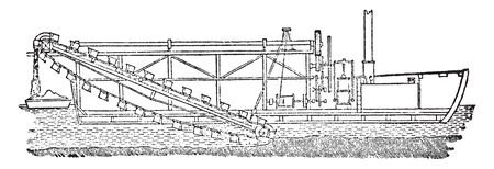 Dredge Machine used for clearing out or deepening the channels of rivers or harbors, vintage line drawing or engraving illustration.