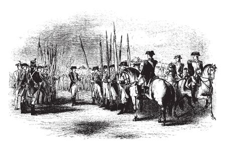 Surrender of British at Yorktown Virginia,vintage line drawing or engraving illustration.