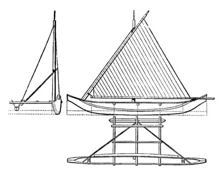 Elevation View of Proa is a type of sailing vessel with multi hulls, vintage line drawing or engraving illustration.
