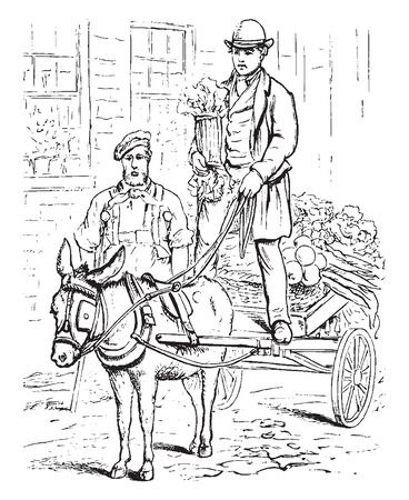 A man with seasons harvest on cart and another man standing near cart, vintage line drawing or engraving illustration