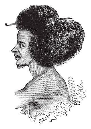 An Abyssinian warrior, vintage line drawing or engraving illustration
