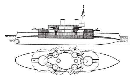 Battleship Massachusetts Ships designed to engage similar enemy warships with direct or indirect fire from an arsenal of main guns, vintage line drawing or engraving illustration.