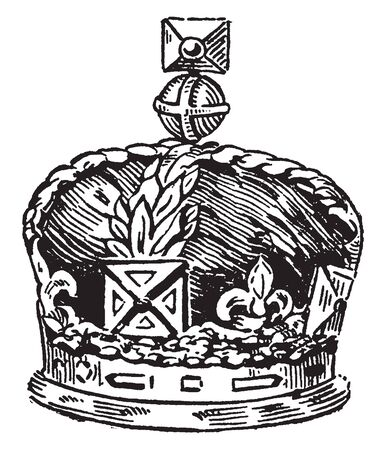 Crown of British which include the regalia and vestments worn by British kings and queens at their coronations, vintage line drawing or engraving illustration. Çizim