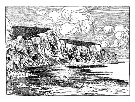 The Cliffs of Dover have served as a symbolic guard against any attacks and threats coming in from Continental Europe, vintage line drawing or engraving illustration. 向量圖像