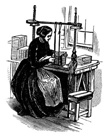 A woman binding books with machine, vintage line drawing or engraving illustration