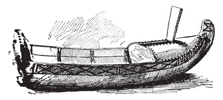 Lapland Pulk is a small canoe shaped boat made of light materials and covered in reindeer skin, vintage line drawing or engraving illustration.