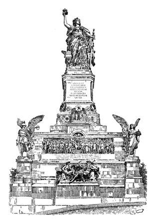 The German National Monument stands on a wooded hillside opposite Bingen and overlooking the Rhine valley, vintage line drawing or engraving illustration. Ilustração