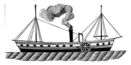 Hudson River Steamboats are unique in that they have two paddlewheels located in the center of the boat on either side, vintage line drawing or engraving illustration. 일러스트