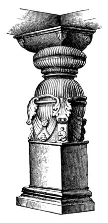 Indian Pillar from the Rock Temple of Parasona Rama at Ellora which are not relatively large as compared to others, vintage line drawing or engraving illustration.