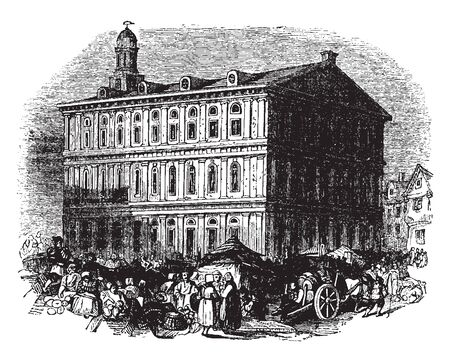 Faneuil hall is Located in Boston, Massachusetts and named after Peter Faneuil,vintage line drawing or engraving illustration.
