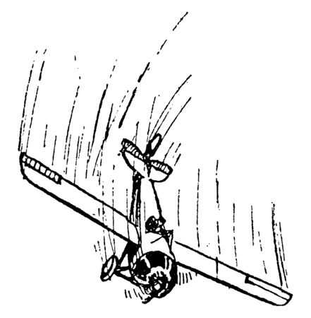 Airplane Sideslip Rudder Turned and Elevator Depressing Flying with the elevator depressed and rudder turned to recover the plane, vintage line drawing or engraving illustration.