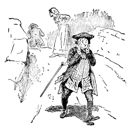 A man walking down the road and covering ears with hands, vintage line drawing or engraving illustration