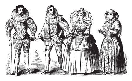 Elizabethan Costumes worn during the Elizabethan Era, vintage line drawing or engraving illustration.