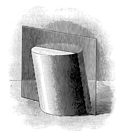 The image shows the plane passing through a cylinder. There is a plane that passes through the Cylinder that makes two equal vertical parts of the cylinder, vintage line drawing or engraving illustration.